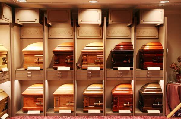 row of caskets