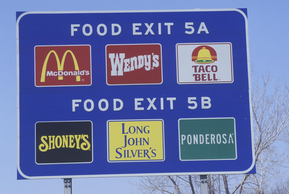 fast food road signs