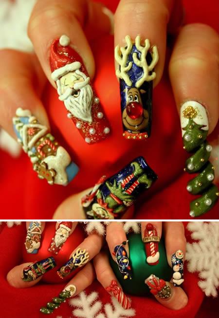 15 coolest nail art designs nail art designs nail art ideas 2christmas nail art design prinsesfo Images