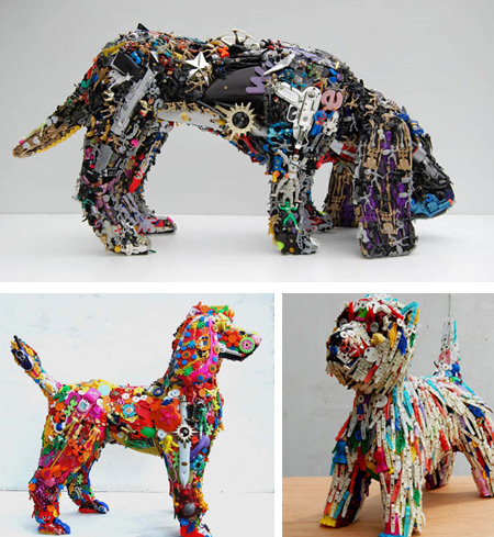 12 most creative recycled sculptures art from recycled for Creative waste material recycling