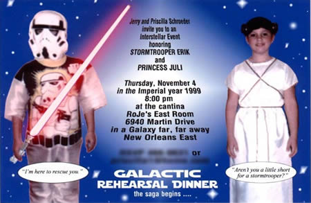 This Stars Wars Inspired Rehearsal Dinner Invitation Was Designed By The Creative Grooms Mother Who Made It On Computer Herself Using Some Old