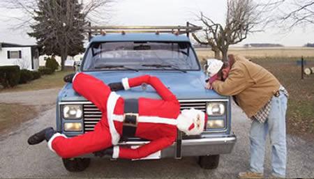oops seems like somebody ran over santa