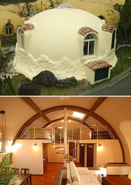 ... made by Japan's Dome House Co., is an igloo-shaped structure built from  snap-together wall sections made of 100% expanded polystyrene foam ( styrofoam).