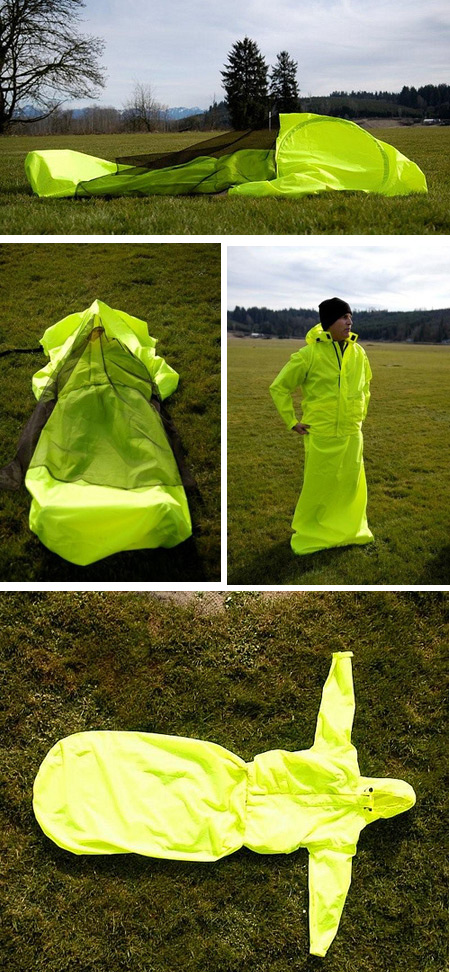 2Jacket + Tent + Sleeping Bag u003d JakPak & 12 Strange and Creative Camping Tents - camping tents - Oddee