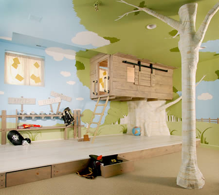 Awesome kid s treehouse bedroom   it doesn t get better than this with  hidden drawers  doors  and a bed inside a tree house. 12 Coolest Bedroom Designs   bedroom designs ideas  modern bedroom