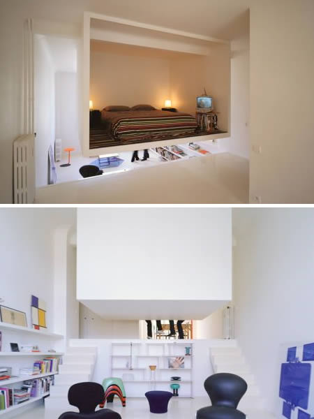 those living in small spaces have to be creative about dividing up the space but putting up screens only gets you so far this ingenious bedroom design is - Cool Bedroom Design Ideas