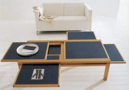 This Is A Such A Cool Idea: Similar To A Keyboard Tray On A Desk, The Hexa Coffee  Table Has Six Hidden Compartments That Slide Out To Triple The Available ... Part 79