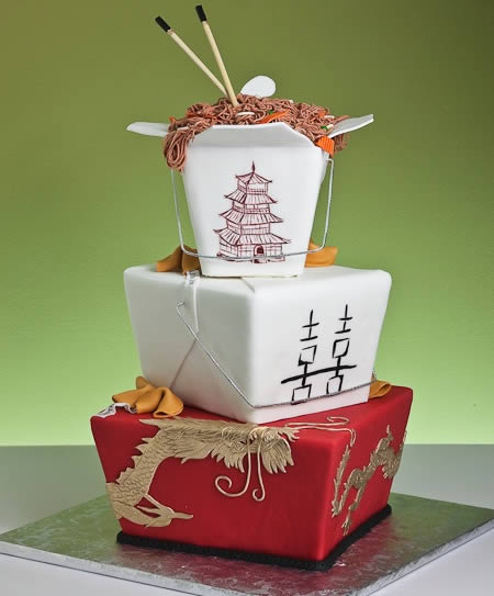 This Asian Inspired Chinese Take Out Wedding Cake Spares No Details Even Down To The Chopsticks