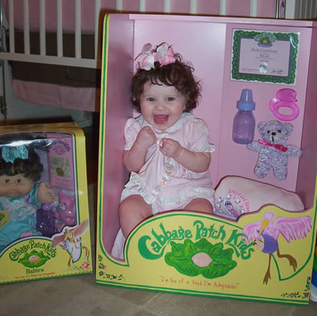 cutest baby costume ever merili carter and family turned their baby girl into a real live cabbage patch doll complete with birth certificate