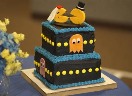 Pac Man Game Themed Wedding Cake And Topper