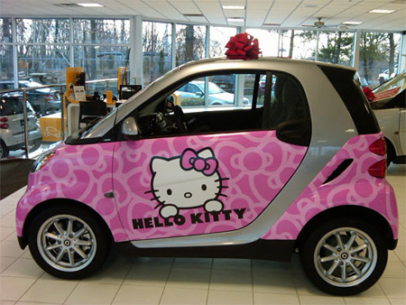 a lot of women and children would love this car how awesome would it be to get dropped off at school in a hello kitty smart car