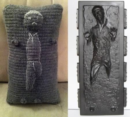 12Han Solo In Carbonite Crocheted Throw Pillow