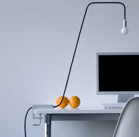 Minimalist Design, Just An Ordinary Electric Wire Braided Into Aluminum  Clamps On The Table, With The Electrical Cord Reinforced To Hold The  Lightbulb At ...