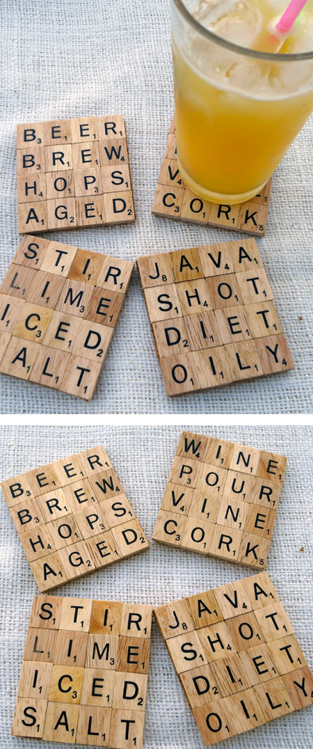these cool coasters created from scrabble letters can be customized to create words of your choice - Cool Coasters