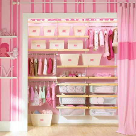 How Adorable Is This Little Girlu0027s Closet? Bins And Small Pull Out Shelves  Create A Pretty Arrangement For Storing All Those Sweet Cardigans And  Striped ...