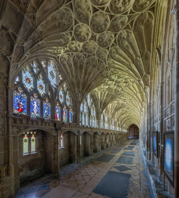 The Beautiful Fan Vaulting In Cloisters Of Gloucester Cathedral England