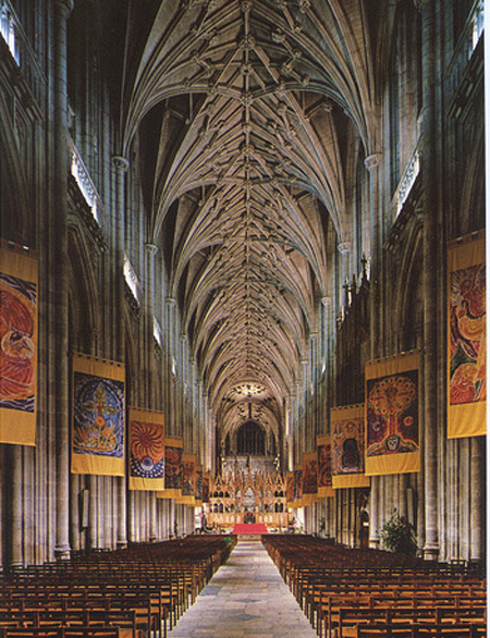 Vaulted Ceiling Of The Winchester Cathedral In Hampshire.