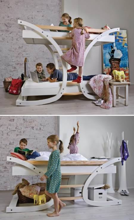 Called U201cWave 2?, This Bunk Bed Features A Unique Design Shaped Like A Work  Of Architecture. Just Climbing Up To The Top Bed Is A Real Treat For Kids.