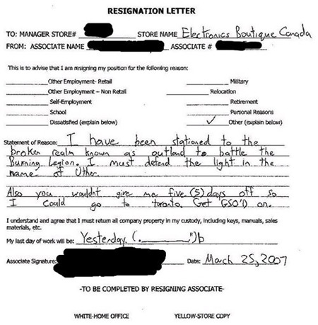 7 Most Awesome Resignation Letters Oddee