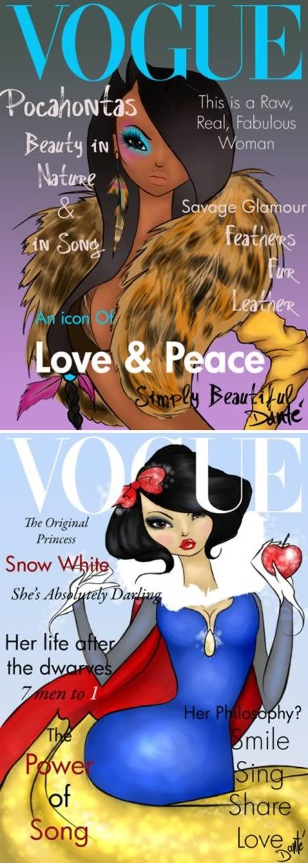 6disney princesses as vogue cover models
