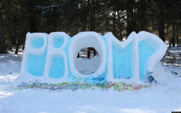 one teen in connecticut took advantage of the historic northeast blizzard back in february 2013 and made a snow sculpture of the word prom