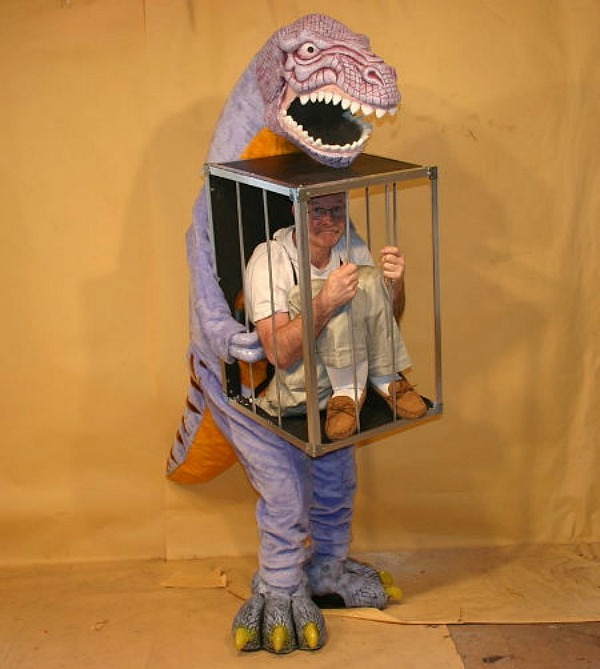 6Dinosaur With A Man In A Cage & 15 Fun Halloween Costumes That Use Fake Legs to Create An Illusion ...