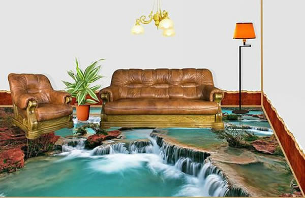 Exceptional Waterfall Print For Self Leveling Floor.