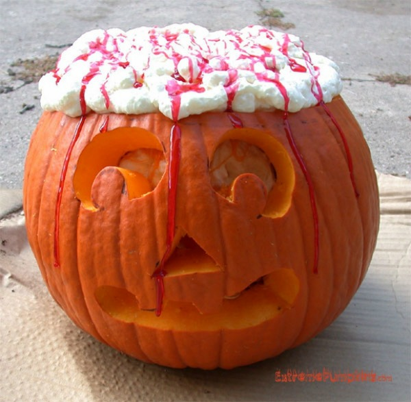like the idea of brains in your pumpkin but not up to the challenge of carving them out follow this extreme pumpkins example and use some