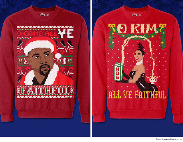 admit itits impossible to get away from the media juggernaut that is kimye if you really need a sweater with one of their likenesses you can find them