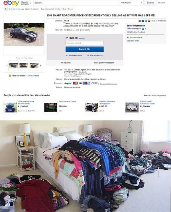 9The Man Who Sold All Of His Exs Clothes And Car On EBay