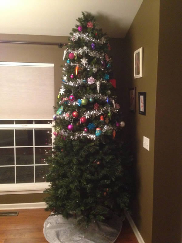 12 hilarious child and pet proof christmas trees - Half Christmas Tree