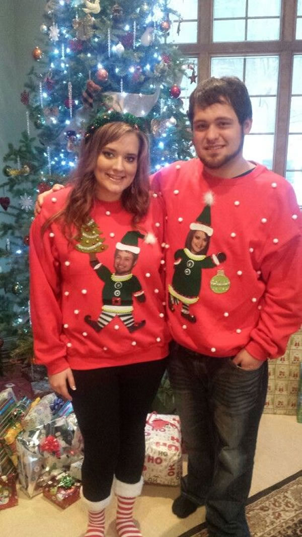 Christmas Sweaters For Couples.12 Hilarious Ugly Christmas Sweaters For Couples Oddee