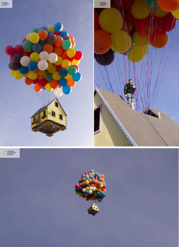 2A Real-Life Up House & Pixaru0027s u201cUpu201d: 10 Amazing Things Suspended By Balloons - Oddee